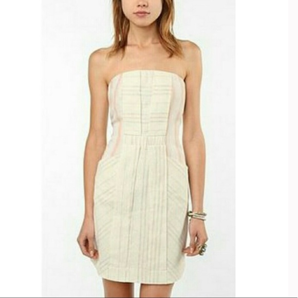 74d7aed2fcf91 Urban Outfitters Dresses | Uo Striped Linen Strapless Dress | Poshmark